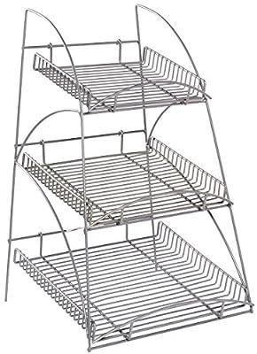Displays2go WCTRAYX3SS Metal Display Rack with 3 Trays, 16x25x15-Inch, Silver