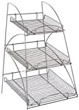 Displays2go WCTRAYX3SS Metal Display Rack with 3 Trays, 16x25x15-Inch, Silver