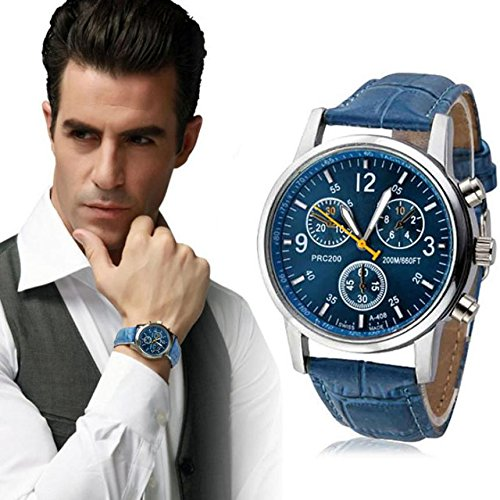 878c241513 But Looks Really Expensive Mens Dress Watch- Fashion Simple Analog Watch  Dial Quartz Crocodile Faux Leather (Blue)  Amazon.co.uk  Watches