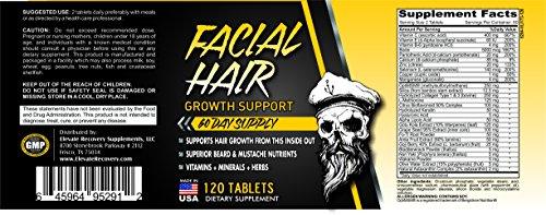 2-Month Facial Hair Growth Supplement - Beard Vitamins - Natural Beard Support Supplements - Pills - 120 Tablets