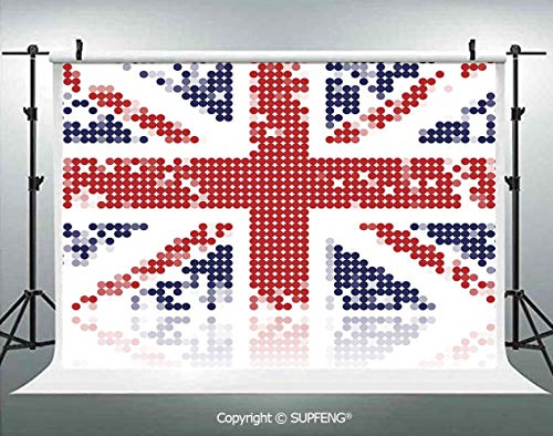 Photography Background Grunge United Kingdom Flag with Dot Circle Effects National English Display 3D Backdrops for Photography Backdrop Photo Background Studio Prop -