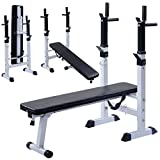Costway Folding Weight Bench Adjustable Sit up Barbell Multi Weight Dip Station Lifting Chest Press...
