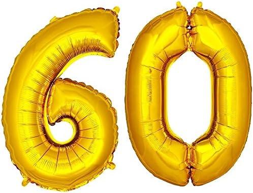 DekoRex® 60 Globo en Oro 100cm de Alto decoración cumpleaños para Aire y Helio número