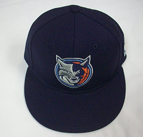 NBA adidas Charlotte Bobcats Flat Bill Fitted Hat - Navy Blue (7 1/8)