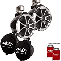 Wet Sounds ICON8-BSC ICON Series Swivel Clamp Wake Tower Speakers (pair) with Suitz8 Speaker Covers