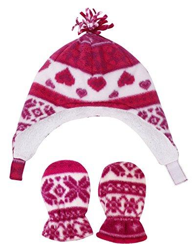 (Kids Sherpa Lined Fair Isle Print Fleece Hat & Gloves Set, Fuchsia S 6-24 Months)