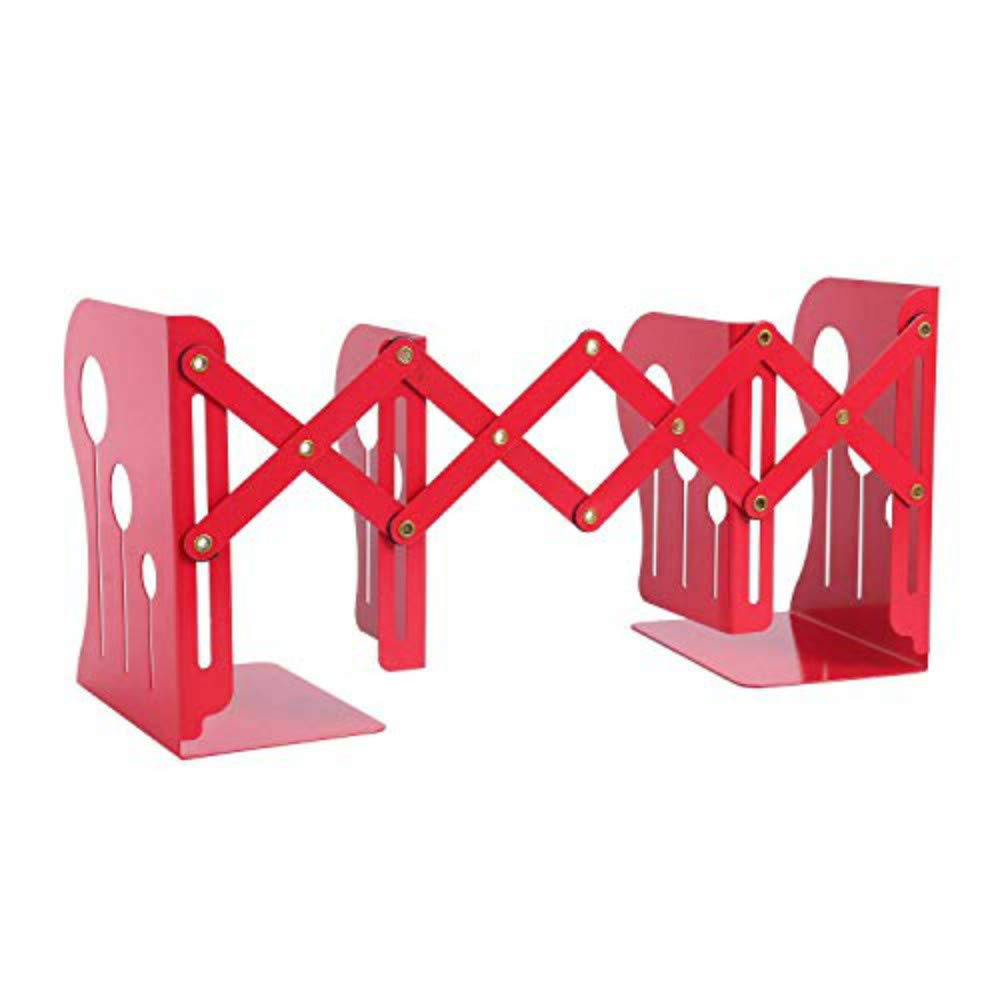 Red, Large SunAngel Enamel-Finish Steel Adjustable Desktop Bookends//Book Racks//Book Stands//Book Holder,Non-Skid,Three Compartments,Max Length 15.7
