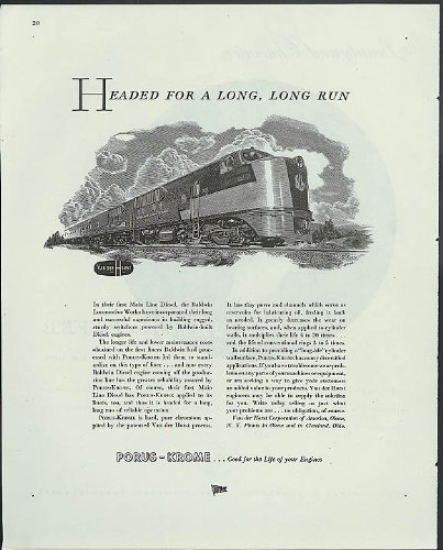 Run Diesel Locomotive - Headed for a long, long run Baldwin Locomotive Works Main Line Diesel ad 1945