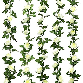 Yebazy 2pcs(16FT) White Rose Flower Garland Silk Flower Rose Vine Hanging Baskets for Wedding Arch Home Garden Wall Decor (White)
