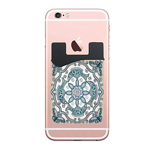 CardlyPhCardH Victorian Butterfly and Curved Fish Pattern Eastern Shabby Chic Image Authentic Cell PhoneCard Holder Stick on Wallet Pouch for Apple iPhone 2 PCS ()