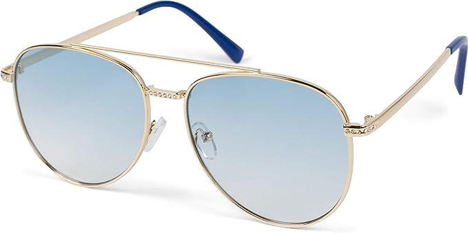 Metall Pilotenbrille Damen Piloten Sonnenbrille Glitzer Polycarbonat Gläser