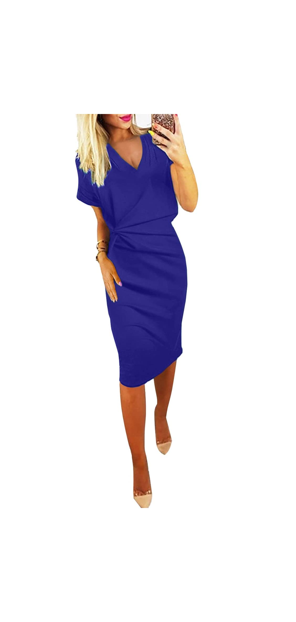 Women Casual Short Sleeve V Neck Midi Dress With Pockets