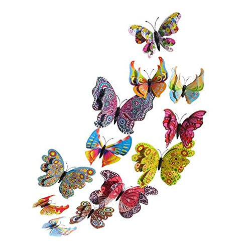 Koolemon 12PCS PVC 3D Butterfly Fridge Magnets Refrigerator Magnets Wall Stickers with Magnet for Wall Decor Art Decor Crafts Home Party Decoration