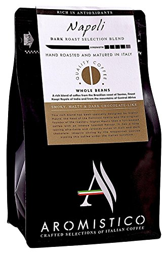 Aromistico | Italian Dark Roast Whole Bean Gourmet Coffee Blend, Rich Strong | NAPOLI BLEND, SMOKY, MALTY & DARK CHOCOLATE-like | For Espresso, Moka, Filter, Cafetiere, Pour-Over Drip, Aeropress