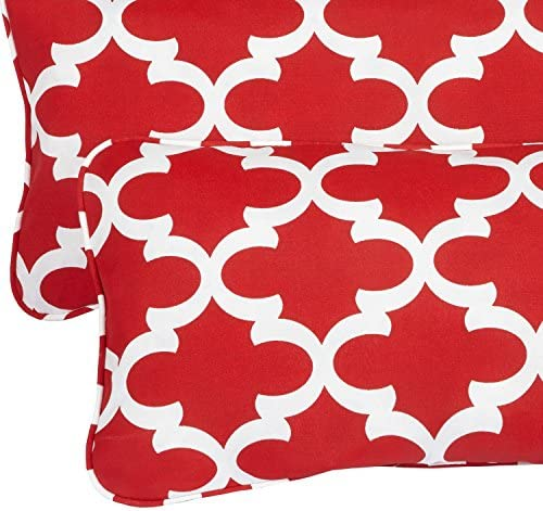 Mozaic AZPS2021 Indoor Outdoor Lumbar Pillows with Corded Edges, Set of 2, 12 x 24 inches, red