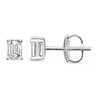 2ce5802ab 14k White Gold Emerald-cut Solitaire Diamond Stud Earrings (1/2 cttw,