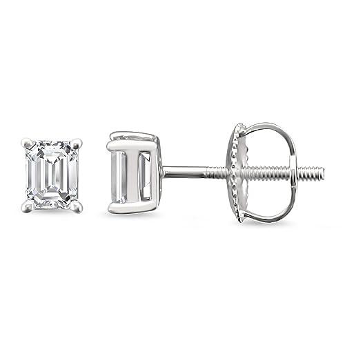 7d94d61ffd57f Amazon.com: 14k White Gold Emerald-cut Solitaire Diamond Stud ...