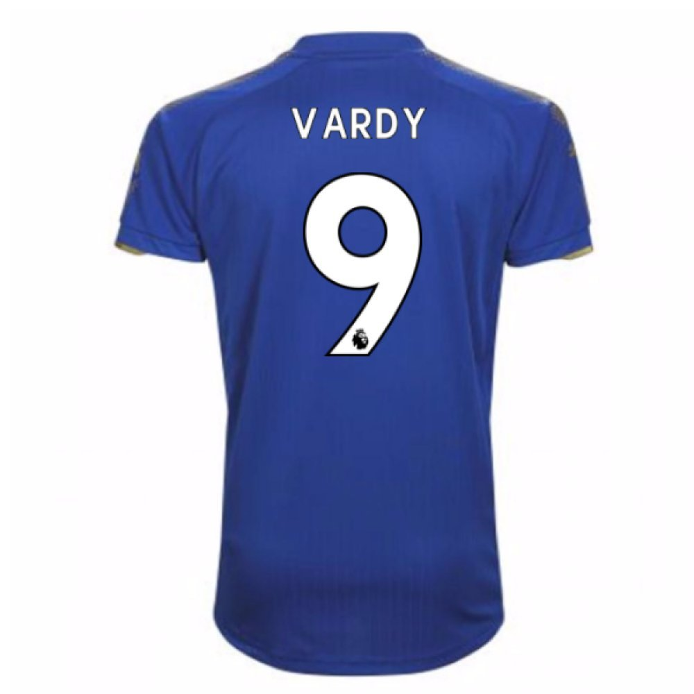 2017-18 Leicester City Home Football Soccer T-Shirt Trikot (Jamie Vardy 9)