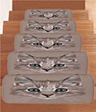 iPrint Non-Slip Carpets Stair Treads,Animal,Portrait of Domestic Cat Cute Face Baby Kitten Pet Whiskers Fluffy Feline,Umber Brown Bluegrey,(Set of 5) 8.6''x27.5''
