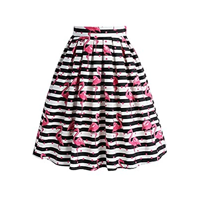 Chicwish Women's Black and White Stripes Polka Dots Pink Flamingo Knee Length Print Pleated A-line Skirt