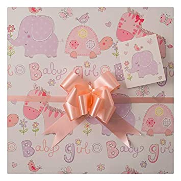 Girl Gift Wrap Two Sheets Matching Tags And Co Ordinating Pull Bows Perfect For Baby Shower Birth Girls First Birthday