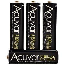 4 Acuvar High Capacity AA Rechargeable Batteries 3100mAh NiMH