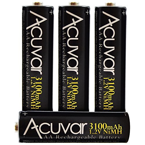 - 4 Acuvar High Capacity AA Rechargeable Batteries 3100mAh NiMH