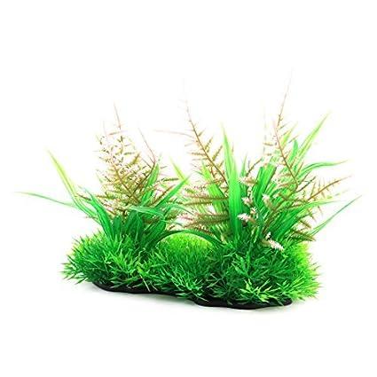 eDealMax Peces de plástico tanque de acuario submarino Landspace simulado rosa de la hierba Verde de