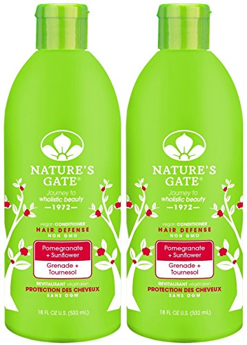 Nature's Gate Pomegranate Sunflower Hair Defense Conditioner, 18-Ounce Bottles (Pack of 2) - Pomegranate Sunflower Hair Defense