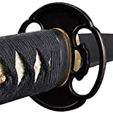 1095 carbon steel sword - Handmade Sword - Japanese Samurai Functional Sharp Katana Sword, 1095 Carbon Steel ClayTempered Full Tang, Black Scabbard Sword Certificate