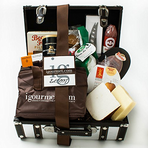 KaBloom Gift Basket Collection: The Platinum Foodie Gift Case of Gourmet Cheese, Sausage, Crackers, Chocolate, Nuts, Fruit and Cheese Knife by KaBloom