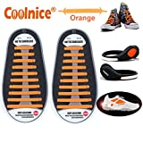 Coolnice® No Tie Shoelaces for Adults and Kids 20pcs with LED Shoe Clip Lights- Environmentally Safe Waterproof Silicon- Orange Shoelaces with Orange Lights