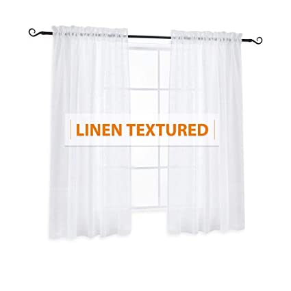 Amazon Ryb Home Semi Sheer Linen Look Curtains Set Rod Pocket