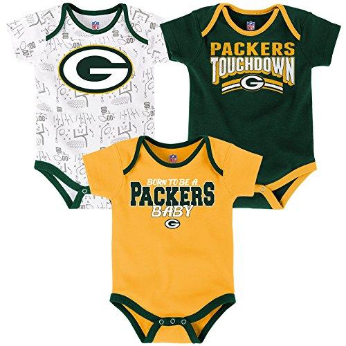 OuterStuff NFL Infant Playmaker 3 Piece Onesie Set-Hunter -12 Months, Green Bay - Bay 3 Packers Green Piece