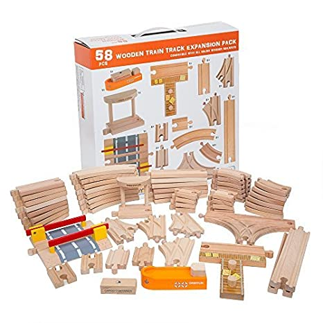 58 Piece Wooden Train Track Expansion Pack Featuring Container Ship Ship Dock Train Station Rail Road Crossing Compatible With Thomas Wooden