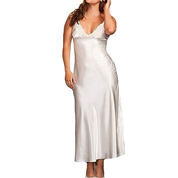33199557d59 Kanhan❤ Women Long Sexy Silk Satin Sleeveless Dress Gown Babydoll Lace  Lingerie Bath Robe