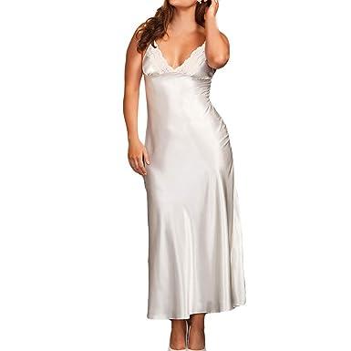 Longra ☀☀ ☀☀ ☀☀❤ ❤️Bata Larga de Seda Sexy Estilo Kimono Babydoll Encaje lencería Bata de baño: Amazon.es: Ropa y accesorios