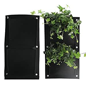 2 Pack Vertical Outdoor Indoor Wall Planters Pockets Garden Hanging Planters Grow Bag for Herbs/Vegetables/Flowers Black PCS 2 Pocket (Style 2)