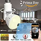 WiFi IP Camera LED Bulb Camera Wireless Hidden Camera 360 Degree Panoramic 1080P HD Fisheye for IOS Android APP Remote Home Security System for Indoor Outdoor House Baby Room Pet Office School