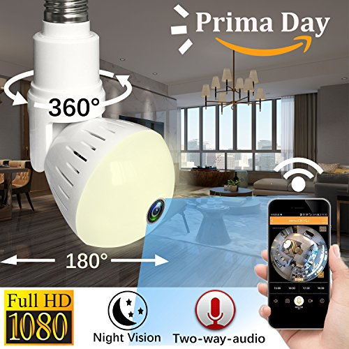 WiFi IP Camera LED Bulb Camera Wireless Hidden Camera 360 Degree Panoramic 1080P HD Fisheye for IOS Android APP Remote Home Security System for Indoor Outdoor House Baby Room Pet Office School by iCooLive