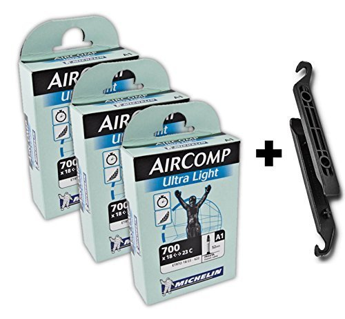 Michelin Aircomp A1 Ultralight Inner Tube Bundle 700x18-23c Presta 40mm (Pack of 3 Tubes & 2 Tire Levers)