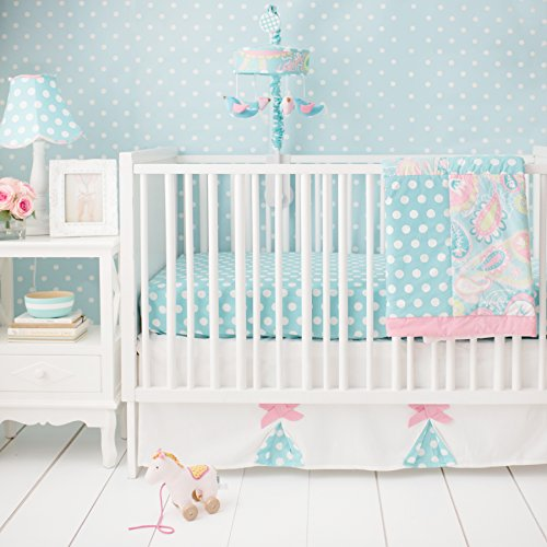 - My Baby Sam Pixie Baby 3 Piece Crib Bedding Set, Aqua and Pink