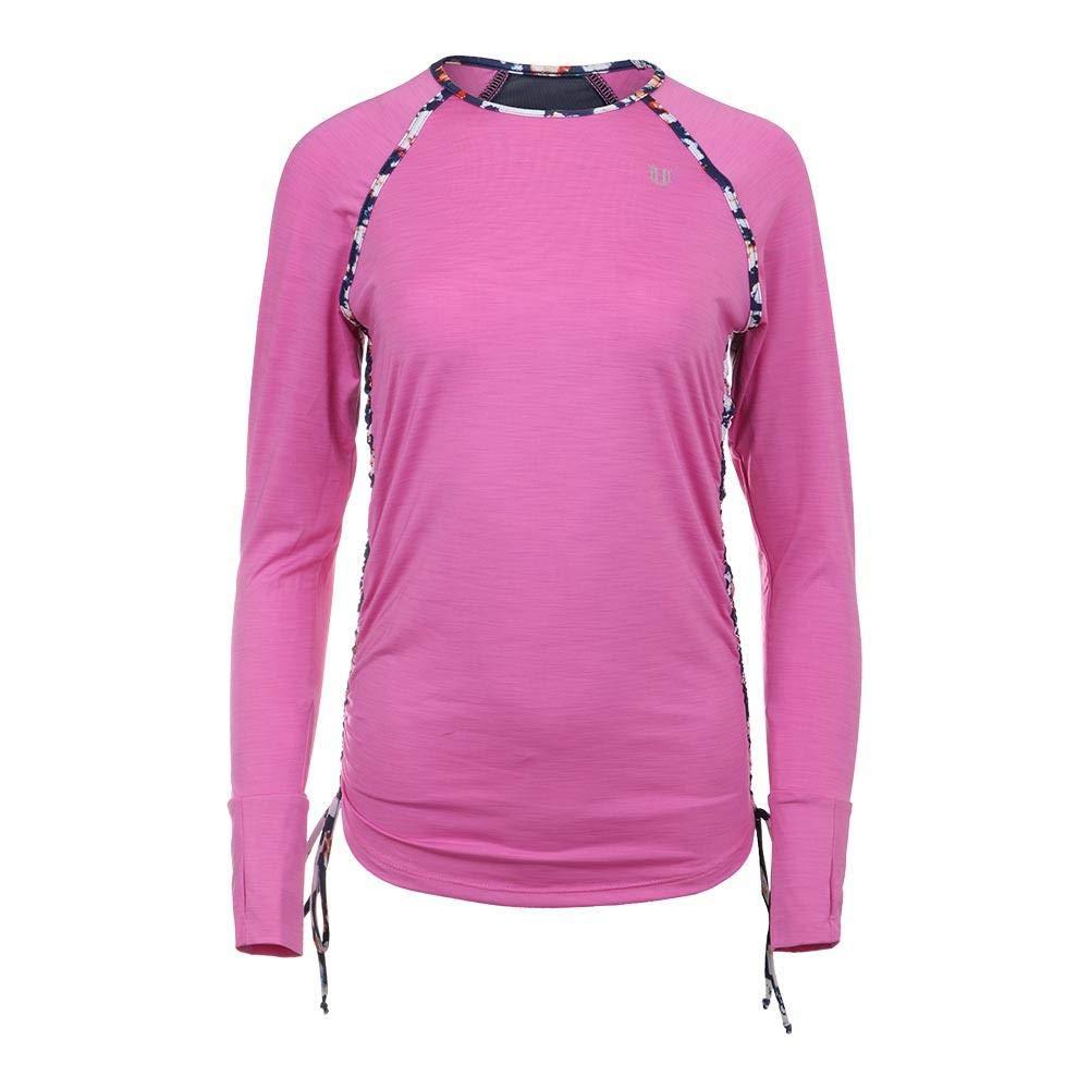 Eleven-Women`s Tangle Long Sleeve Tennis Top Super Pink-(191996035364)
