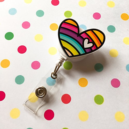 Cute Rainbow Heart Decorated Retractable Badge Reel ID Holder with Clip Backing