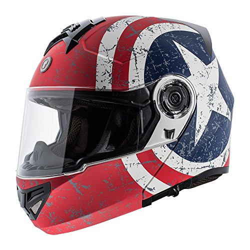 TORC T27 Avenger Full Face Modular Helmet with Rebel Star Graphics (Flat White, Small)