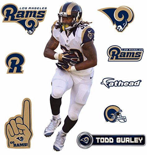 Todd Gurley FATHEAD Los Angeles Rams Logo Set Official NFL Vinyl Wall Graphics 16'' INCH by FATHEAD
