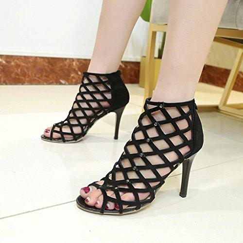 Zapatos Peep Remache Mujer Sandalias Negro altos Sandalias Toe Romano Tacones Moda hunpta Gladiador ptAHTwq0