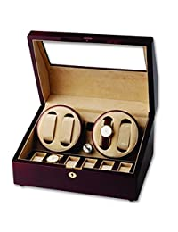 Sturdy Wooden Double Watch Winder and Three Watch Box Display Case for Timepiece Collectors