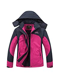 Women Heated Jacket Windbreaker Auto-heated Winter Coat with USB Charged ,Waterproof Windproof Coat with Detachable Hood for Outdoor Sports Climbing, Camping, Riding, Snowboarding