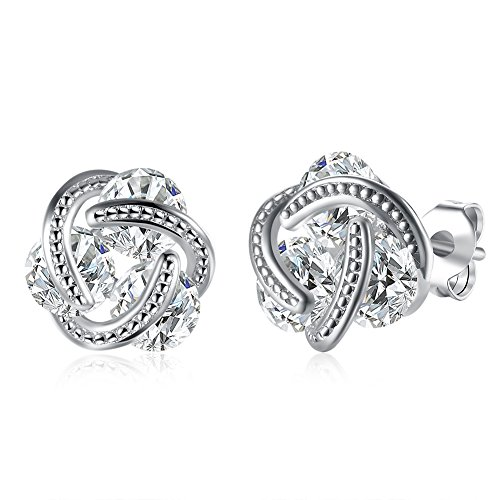 Women's Fashion Cubic Zirconia Love Knot Stud Earrings 18k White Gold Plated Hypoallergenic Post Earrings (White gold)